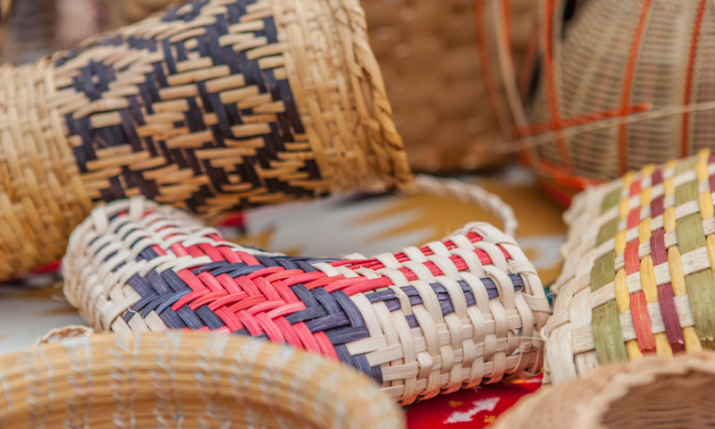 Woven baskets cultural display