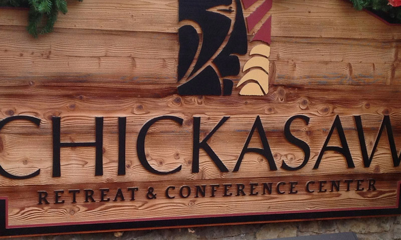 Sign for Chickasaw Retreat and Conference Center in Sulphur, OK